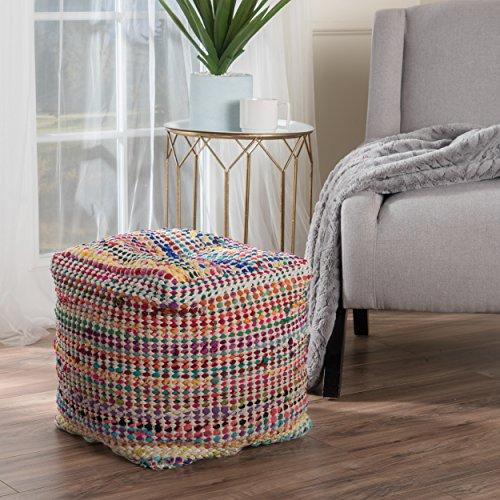 Marcela Hand Woven Fabric Pouf (Ecru) by GDF Studio