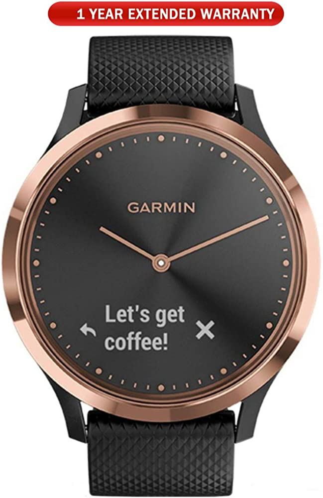 Garmin Vivomove HR,Sport Smartwatch Rose Gold with Black Silicone Band S M 010-01850-16 with 1 Year Extended Warranty
