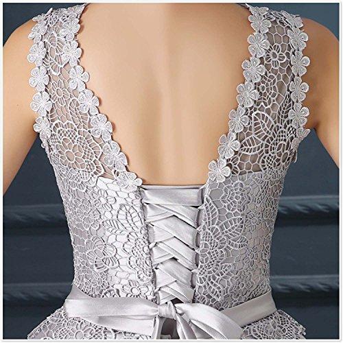 Fanhao Spitze Taschen kurz Rundkragen Damen Stickerei für mit Silber Abendkleid Kleid Satin Brautjungfer rX4H6rqwCF