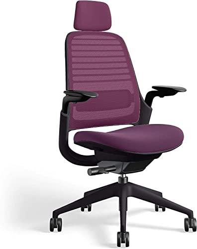 Steelcasse Series 1 Office Task Chair wth Headrest Black Frame 3D Microknit Back 4-Way Adjustable Arms Carpet Casters and Concord Purple 5S19 Cogent Connect Upholstery