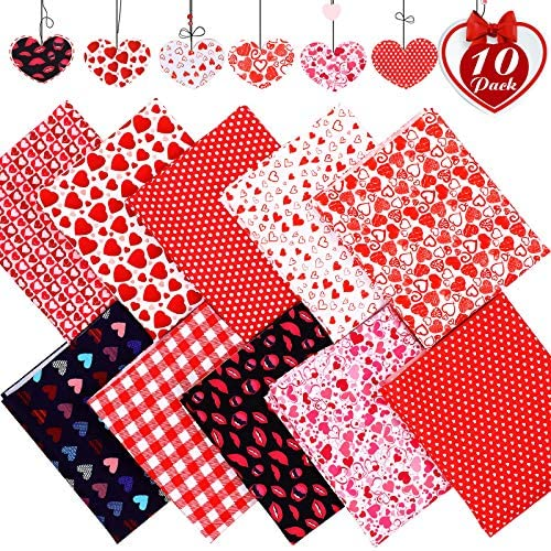 10 Pieces Valentine's Day Fat Quarters, Heart Print Cotton Fabric Sweet Red Lip Heart Plaid Quilt Fabric Bundles for Holiday Couples DIY Crafts Supplies (50 x 40 cm)