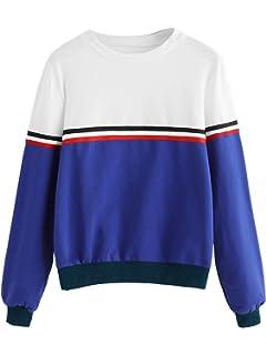 53f33999262f58 Romwe Women's Color Block Round Neck Long Sleeve Pullover Striped  Sweatshirt Top