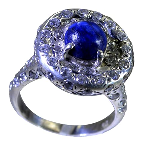 925 Sterling Silver Lapis Ring Oval Gemstone Stackable Stack Cabochon Size 6 7 8