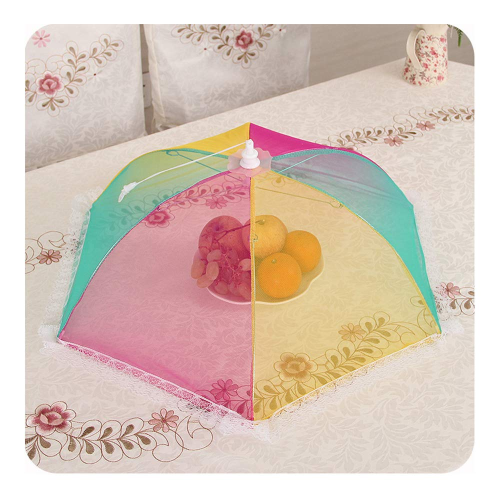 Food Cover Folding Round Food Dust Cover, Table Cover Meal Encryption Anti-Fly Cover Rice Hood Dish Umbrella(3Pcs),6Pcs