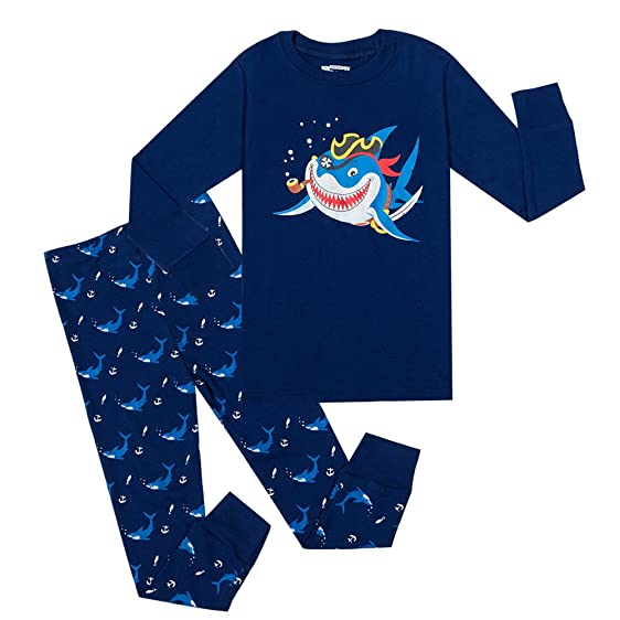 PHOEBE CAT Big Boys Shark Pajamas Childrens Clothes Toddler Pjs 100% Cotton Sleepwear Pants Set