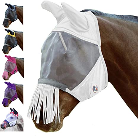 One Year Limited Manufacturers Warranty Derby Originals UV-Blocker Premium Reflective Horse Fly Mask with Ears and Nose Cover