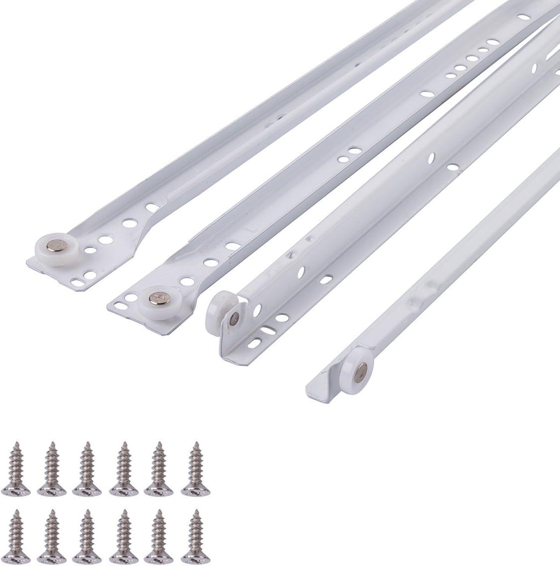 AmazonBasics - Guías correderas para cajones, tipo europeo, 35,6 cm, revestimiento blanco en polvo - paquete de 2