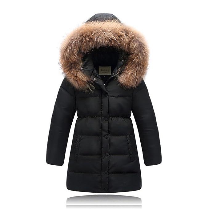 de los niños por la chaqueta para niñas ropa de cuello de pelo natural con capucha