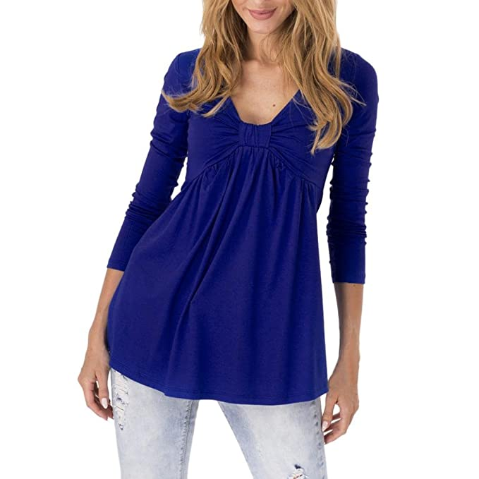 SUCES Damen Frühling Tunika Stretch Top Longshirt Oberteil Bluse Shirt  Minikleid Pullover Damen Langarmshirt Tunika Rundhals 7a94f2c1e9
