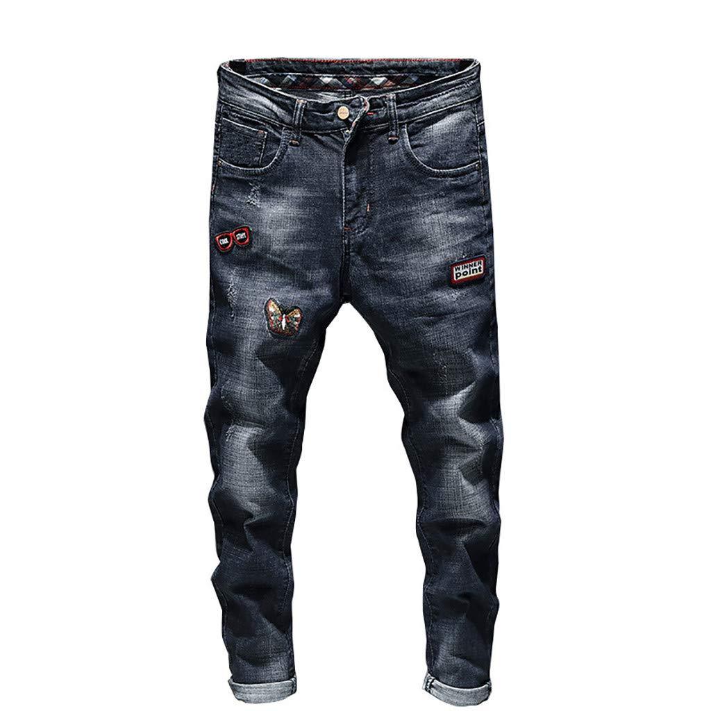 Imakcc Mens Distressed Ripped Biker Slim Jeans Personality Moto Denim Pants(M, Blue)
