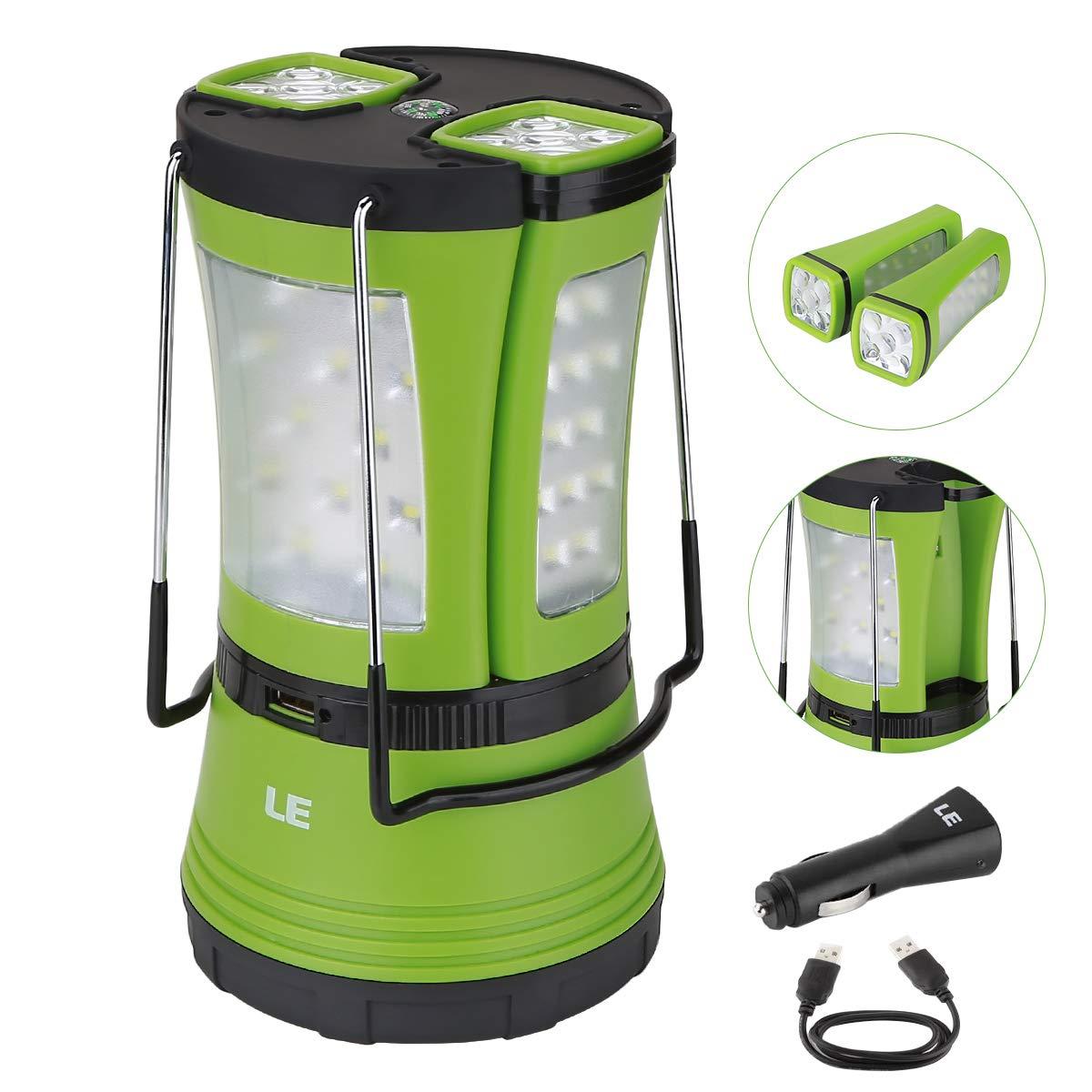 LE Farol de Camping LED USB Recargable, 600lm, con 2 Linternas Desmontables, Cargador mechero incluido, Resistente al agua