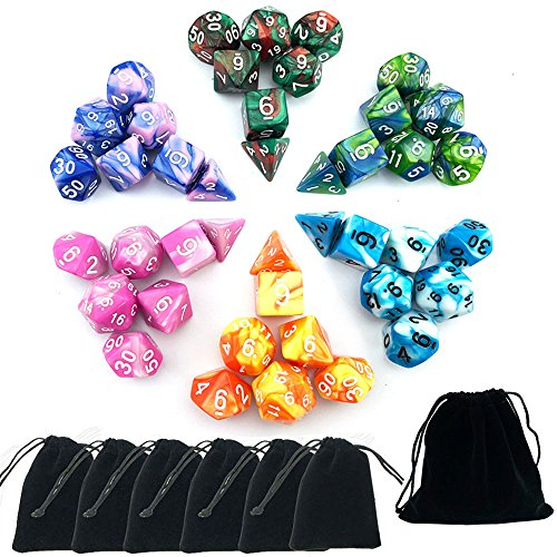 SmartDealsPro 6 x 7 Sets(42 Pieces) Two Colors D4 D6 D8 D10 D12 D20 Polyhedral Dice for Dungeons and Dragons DND RPG MTG Table Games with Free Pouches by Smartdealspro