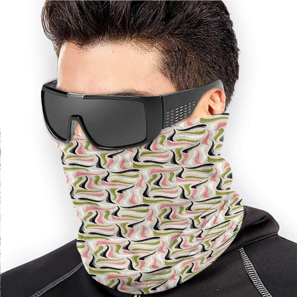 Face Bandana Abstract Cold Weather Face Motorcycle Scarf Stripes Curves Colorful 10 x 12 Inch