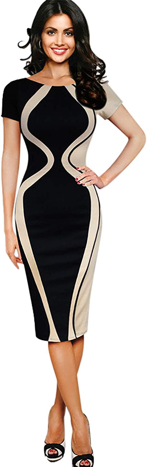 B07V2C37XT Naier Daily Women\'s Patchwork Church Dress Professsional Short Sleeved Fitted Office Pencil Skirt Wear to Work Beige M 615UdrS-KGL