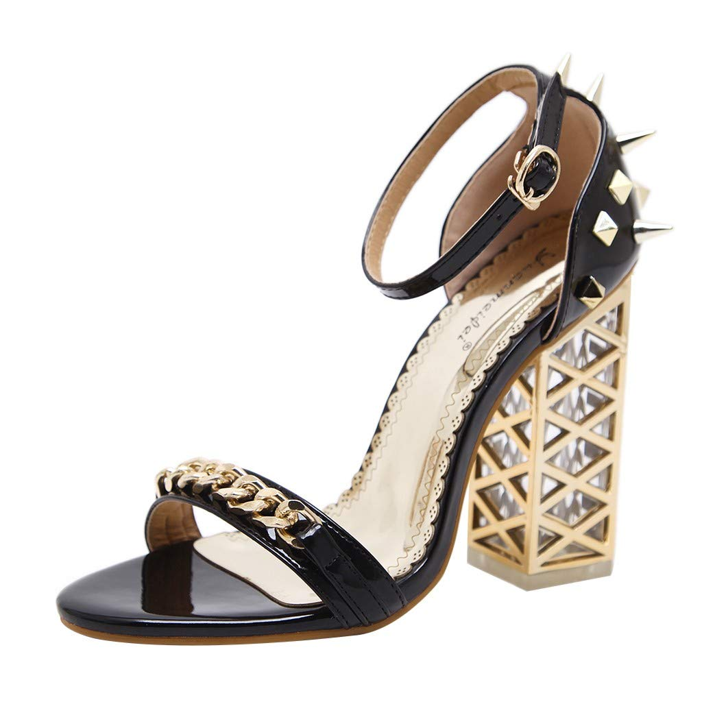 Women's Chunky Heel Sandals,Ladies Summer Ankle Straps High-Heels Open Toe Sandal