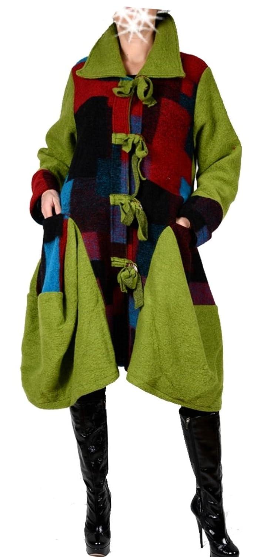 Damen Wolle Wintermantel Mantel Lagenlook Patchwork 42 44 46 48 50 M L XL XXL Warm Trench Coat