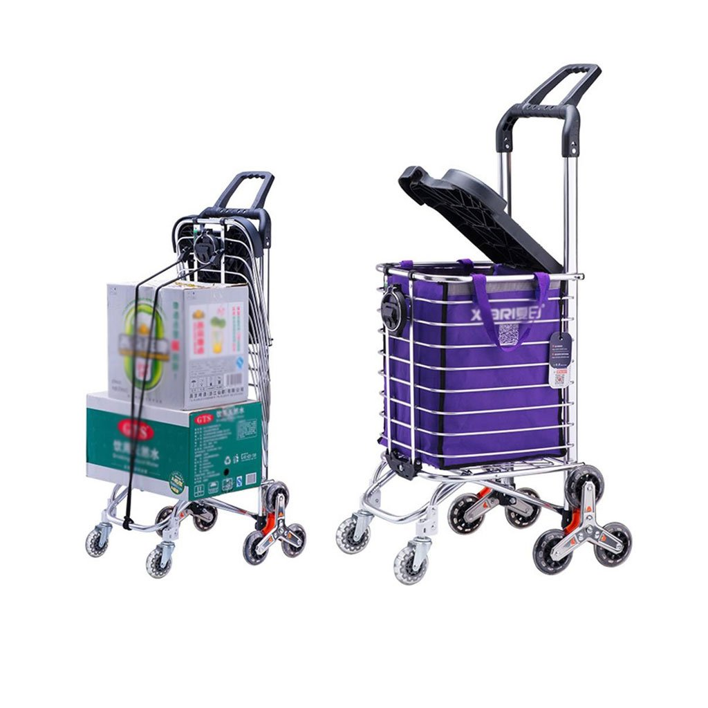 Jian E Shopping Cart Lever Car Senior Trolley Shopping Cart Little Pull The Car Can Be Pushed to Sit Stair Climbing Hand Car Hand Truck (Color : A)