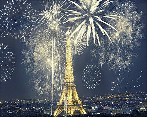 8 x 10ft Sudioエッフェル塔風景写真に背景夜ライトShark Sky Thick Cloth   B01HY640EO