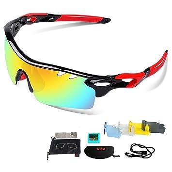 Gafas de Sol Deportivas Polarizadas,VILISUN UV 400 Protección Gafas Deportivas con 5 Set De