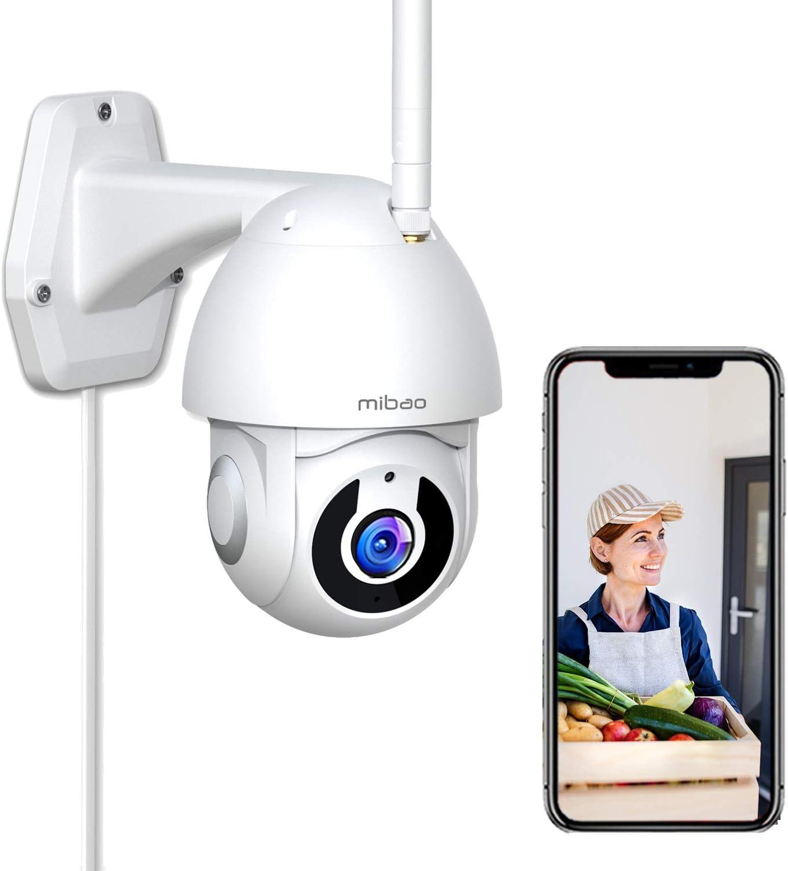 1296P Cámara de Vigilancia Exterior, Mibao WiFi Cámara con Vista panorámica/inclinación de 360 °, IP66 a Prueba de Agua, Visión Nocturna, Detección de Movimiento, Audio Bidireccional.