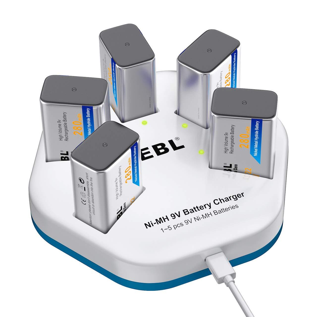 EBL 9V Akku 280mAh 5 Stücke Typ NI-MH 9volt Block Batterien mit 9v Ladegerät, USB Aufladung, 5-Ladeplatz, LED Anzeige