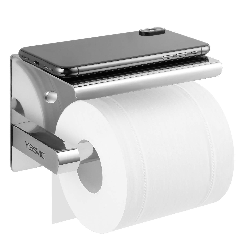 Yissvic Toilettenpapierhalter Ablage Klopapierrollenhalter Installation mit Schrauben oder 3M-Kleber 304 Edelstahl Hochglä nzend Earthly Paradise