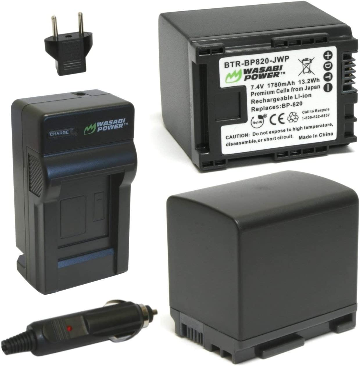 XA20 XA25 Wasabi Power Battery 2-Pack and Charger for Canon BP-820 and Canon VIXIA HF G30