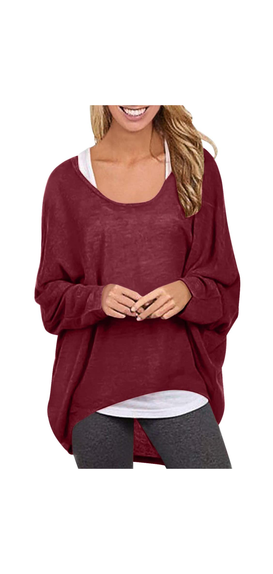 Womens Sweater Casual Oversized Baggy Off-shoulder Long