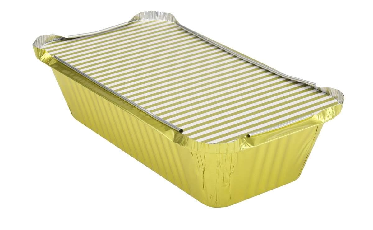 KitchenDance 1-1/2 Pound Disposable Colored Loaf Pans with Lids #1650 (Gold, 500)