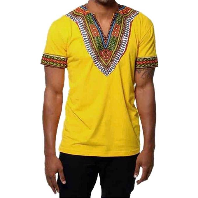 Longra☾ Camiseta Hombre, Hombres de Moda Adelgazan el Cuello EN V Camiseta Estampada del Músculo Camiseta Tops Casuales Blusa: Amazon.es: Ropa y accesorios