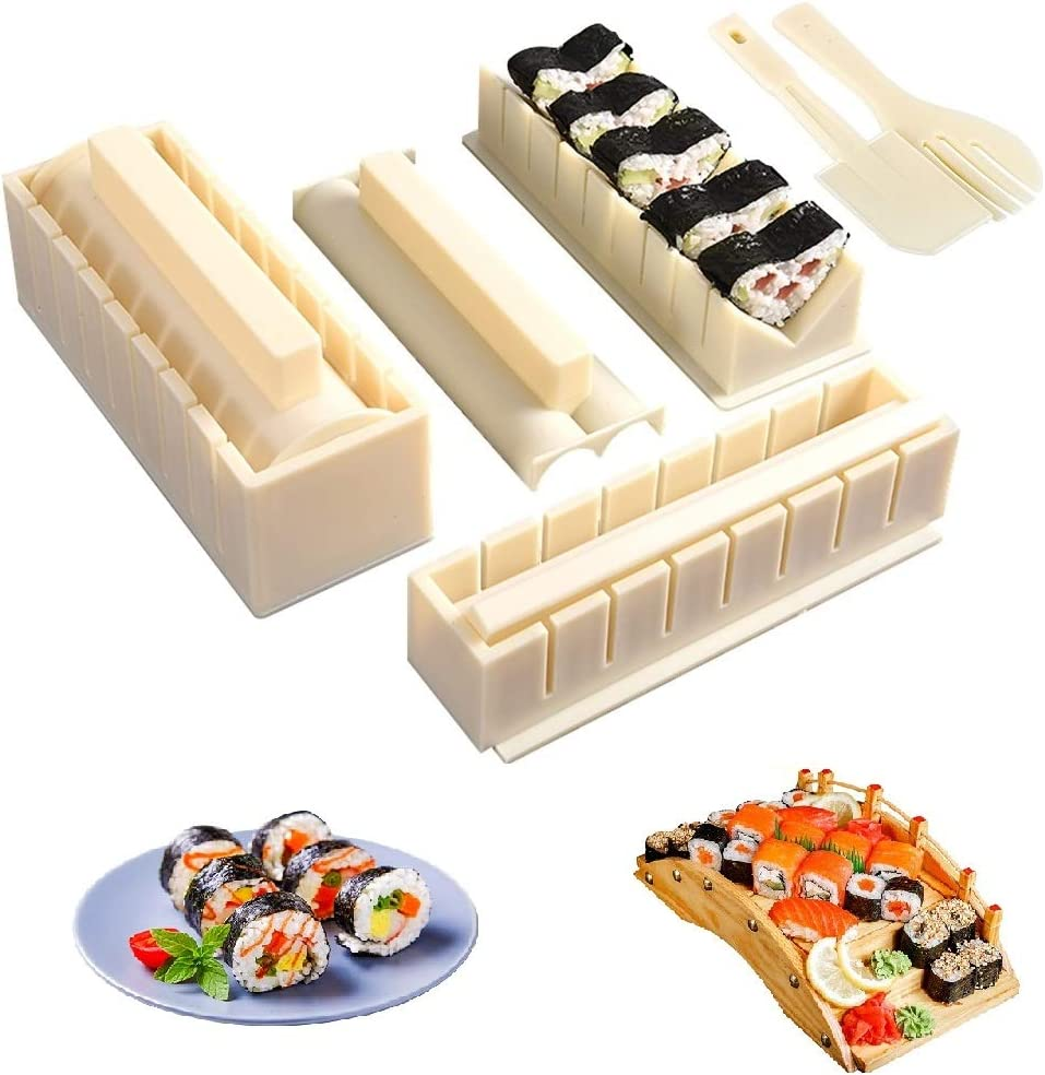 Sushi Making Kit-All In One Sushi Set 10 Piece Food-Grade Plastic Sushi Maker Tool Complete with 8 Sushi Rice Roll Mold Shapes Fork Spatula DIY Home Sushi Tool for DIY Beginners (a)