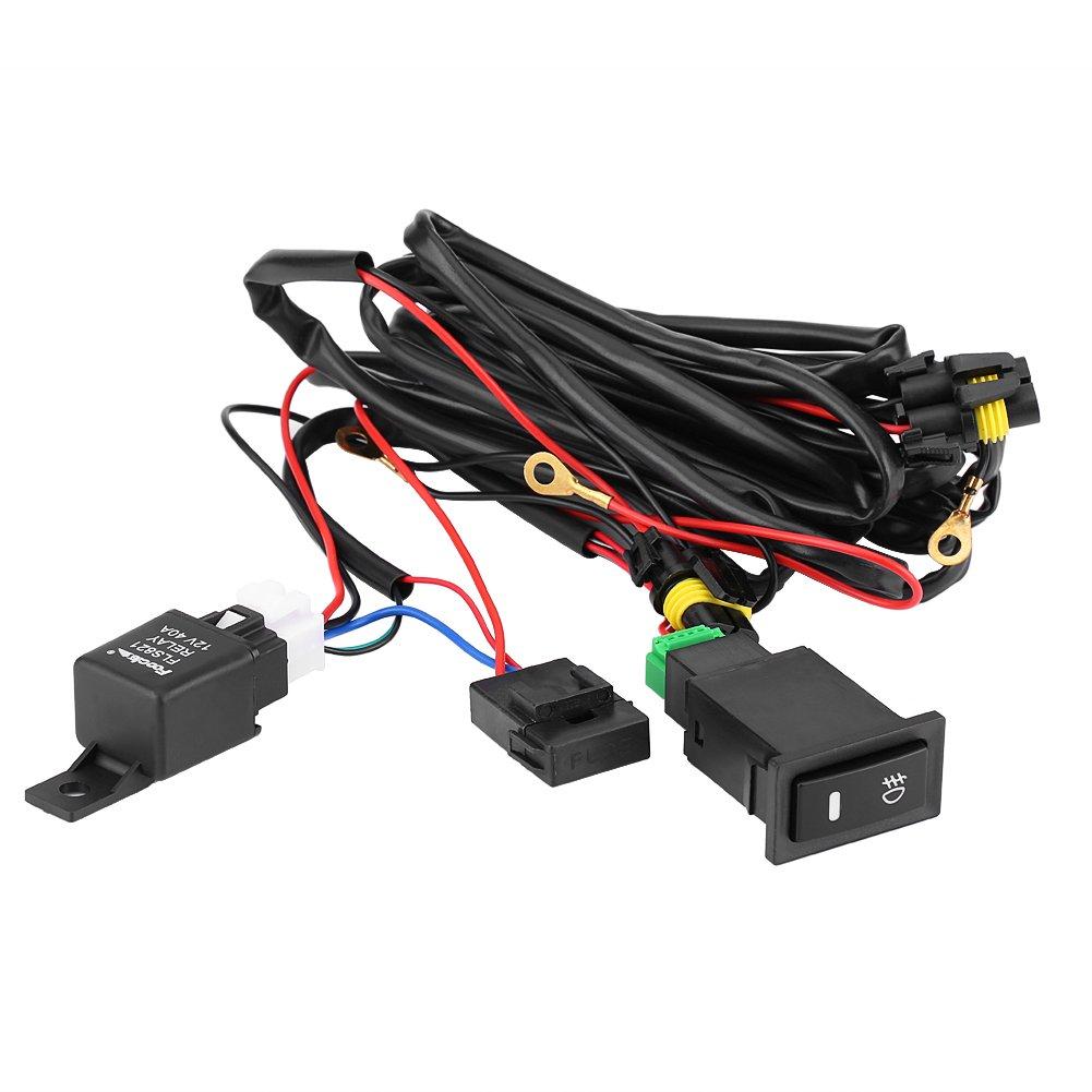 Qiilu QL05043 12V Universal Car LED Fendinebbia interruttore on/off Kit cablaggio relè fusibile