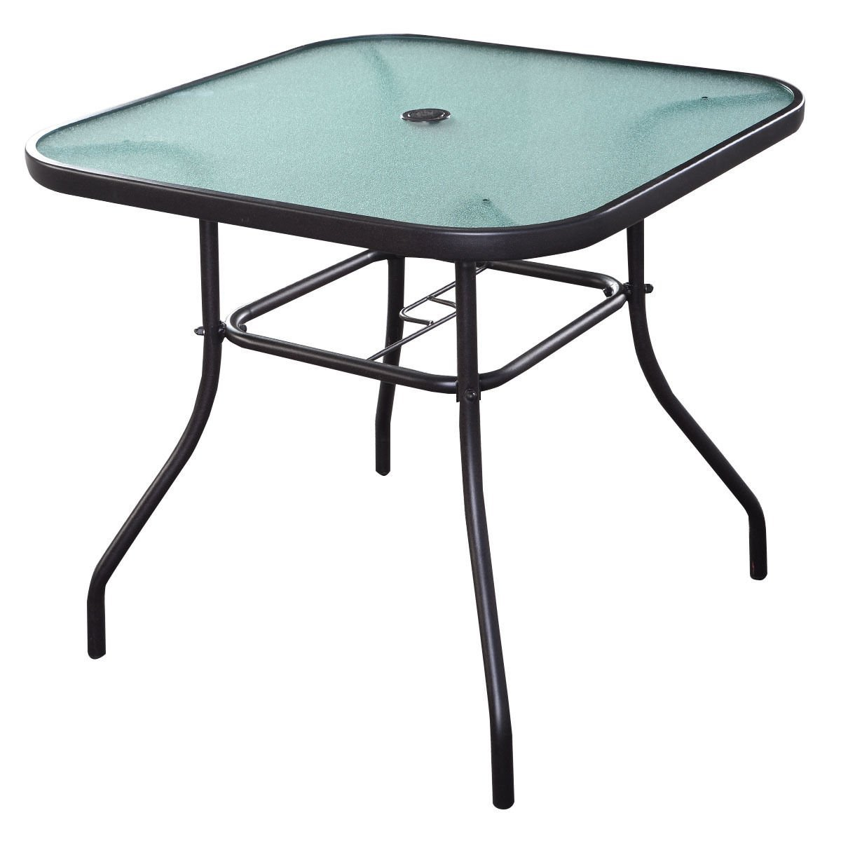 Giantex 32.5'' Outdoor Glass Table W/Tempered Tabletop and Umbrella Hole Square Outside Bar Table for Deck Garden Pool Outdoor Furniture Patio Table by Giantex