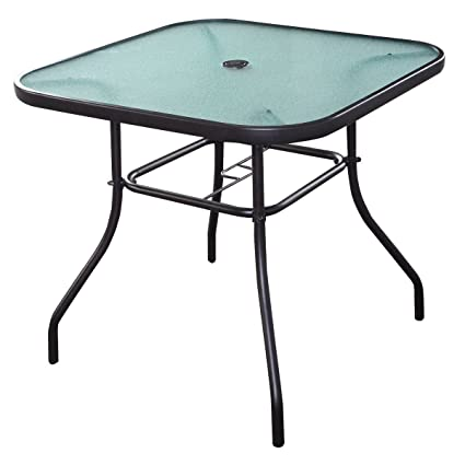 Awesome Quality Patio Square Bar Dining Table Glass Deck Outdoor Furniture Garden Pool Yard With Hole In Middle Home Remodeling Inspirations Genioncuboardxyz