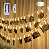 [Remote & Timer] 40 LED Photo Clip String Lights - Adecorty USB Powered LED Photo Clips Lights with 8 Modes, Twinkle Hanging String Lights, Christmas Gifts for Teen Girls Dorm Bedroom Decor,Warm White