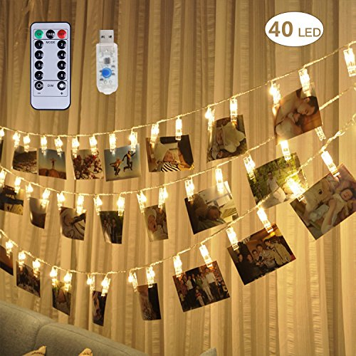 [Remote & Timer] 40 LED Photo Clip String Lights - Adecorty USB Powered Photo Clips Lights with 8 Modes, Twinkle Fairy String Lights, Christmas Gifts for Teen Girls Dorm Bedroom Decor,Warm (Teen Light)