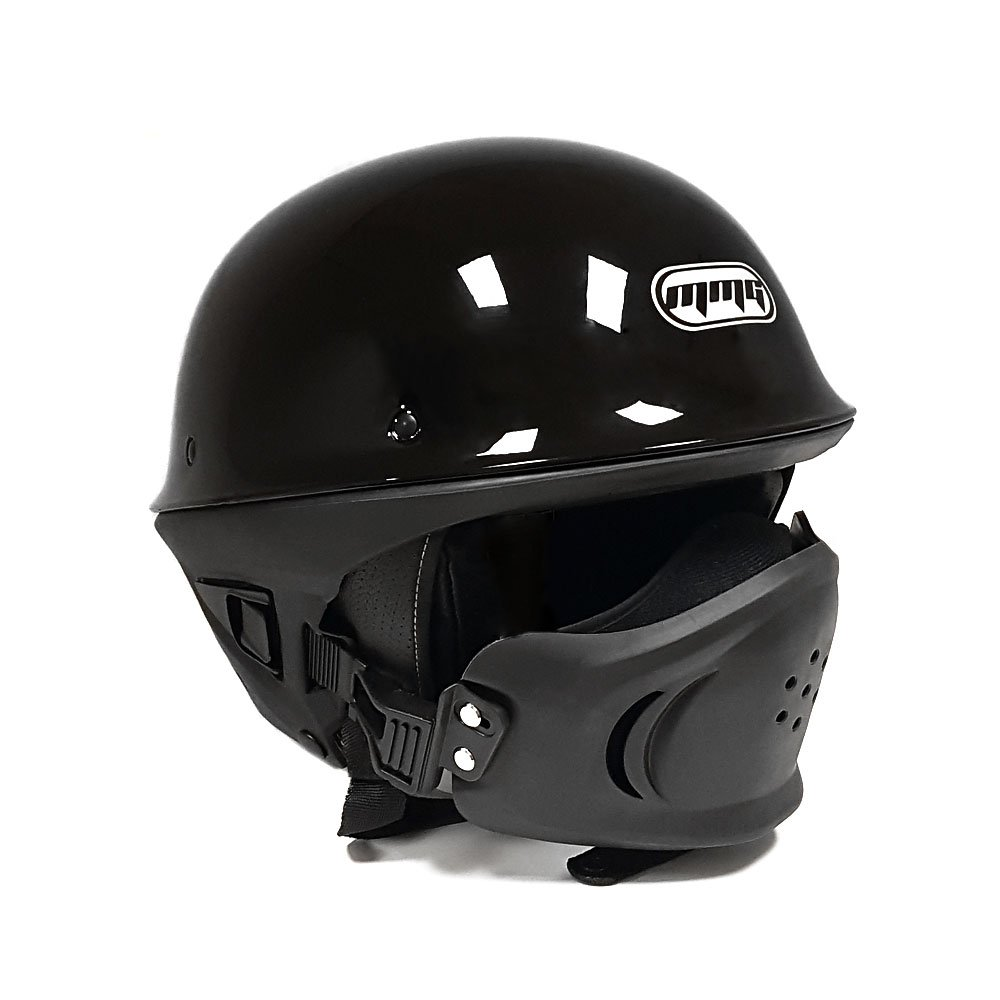 MMG Motorcycle Helmet VADER - Shiny Black - Street Open Face DOT Approved - XL