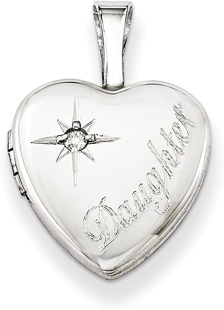 .925 Sterling Silver & Diamond Children's Daughter 12MM Heart Locket Charm Pendant