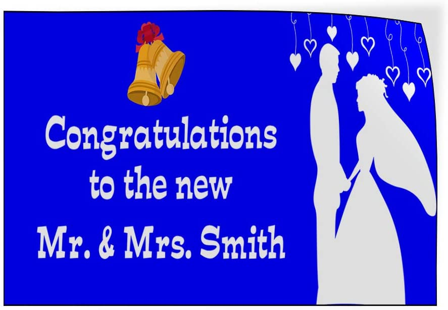 Custom Door Decals Vinyl Stickers Multiple Sizes Congrats to The New Mr and Mrs Name B Lifestyle Wedding Outdoor Luggage /& Bumper Stickers for Cars Blue 54X36Inches Set of 2