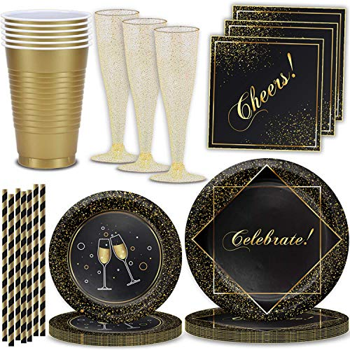 Black and Gold Graduation Party Supplies, Serves 32 – Celebrate! Large Plates, Dessert Plates, Cheers! Napkins, Cups…