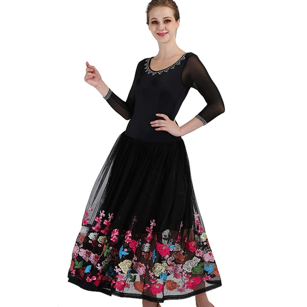 オリジナル 大人のためのモダンダンスショーのコンペドレス長袖の社交ダンスの刺繍スカートのスイング B07QZ2NRRF Xl ブラック xl|ブラック ブラック B07QZ2NRRF Xl xl xl, しぇんま屋:30f65ac3 --- a0267596.xsph.ru