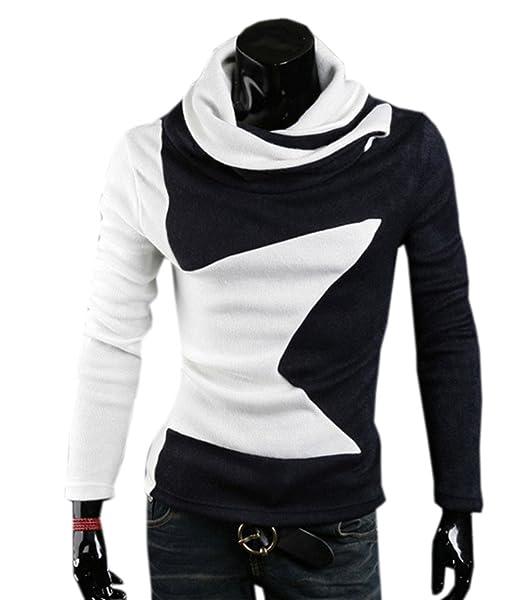 COCO clothing Otoño Primavera Sudaderas Hombre Cuello Alto Suéter Patchwork Tops Blusa Casual Prendas de Punto