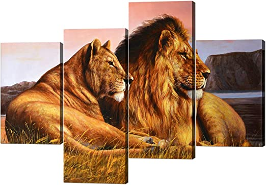 Amazon Com 4 Panels Modern Framed Lion Canvas Gallery Wrapped Lion And Lioness Picture Printed On Canvas Giclee Artwork Modern Lion Pictures Stretched By Wooden Frame For Home Decor 40 W X 28 H Posters