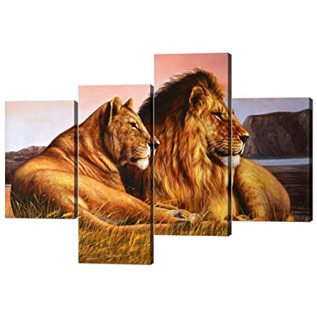4 Panels Modern Framed Lion Canvas Gallery-wrapped Lion and Lioness Picture Printed on Canvas Giclee Artwork Modern Lion Pictures Stretched by Wooden Frame for Home Decor – 40 W x 28 H