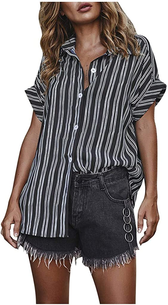 Women Stripe Print Button Down Shirts Summer Short Sleeve V-Neck Top Blouse