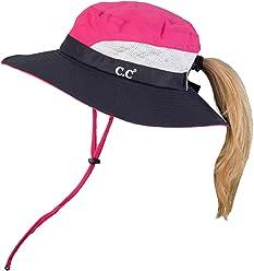 92f57dc1 Funky Junque Ponytail Bucket Hat UPF 50+ Messy Bun Sun Hat Wide Brim Mesh  Cap