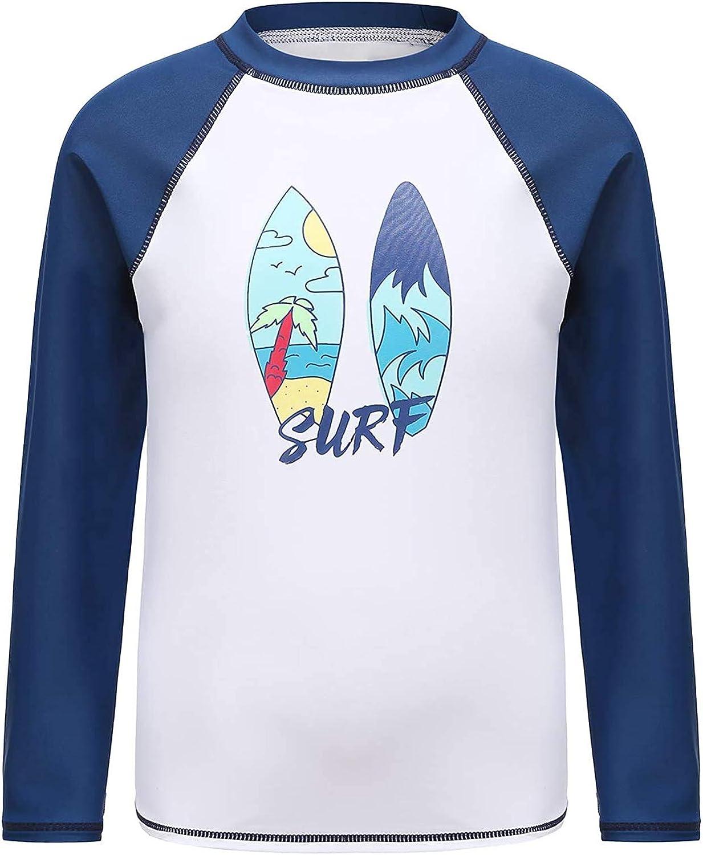 Boys Long Sleeve Rash Guard Shirts UPF 50+//Sun Protection Swim Shirt Kids Beach Surfing Sunsuits Swimwear
