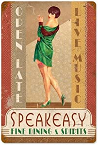 Losea Speakeasy - Pin-Up Girl Retro Tin Metal Sign Vintage Wall Decor Metal Plaque Poster for Home Club Bar Pub Tavern Coffee Cafe BBQ Garage Shop 8 x 12 Inches
