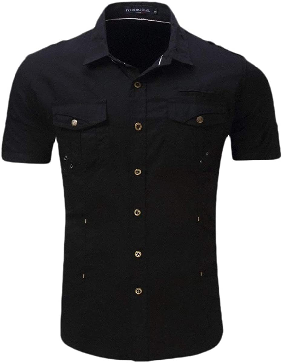AngelSpace Men Baggy Short-Sleeve Button Outdoor Chest Pockets Shirt Blouse Tops