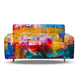 HOSIMA Piece Fit Stretch Sofa Covers - Polyester Spandex Printed Sofa Slipcovers - Furniture Cover/Protector for Living Room 3 Seat Couch with Elastic L Shaped Sofa Cover (BDB51,Sofa-3seater)